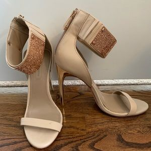 BCBG Rose Gold Cuff Blush Heels